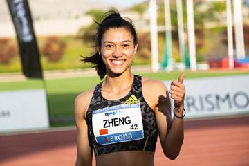 Zheng Ninali after winning the heptathlon in Arona (Organisers)