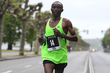 William Yegon on his way to winning the Harmony Geneva Marathon for Unicef (Organisers)