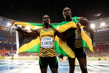 Usain Bolt and Nesta Carter after the 100m final at the IAAF World Championships Moscow 2013 (Getty Images)