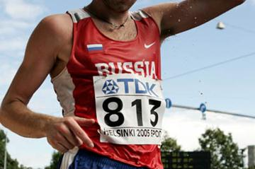 Sergey Kirdyapkin of Russia in the 50km Race Walk in Helsinki in 2005 (Getty Images)