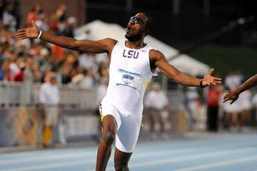 Richard Thompson after his NCAA 100m victory (Kirby Lee)
