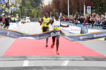 Daniel Kipchumba wins the Lake Maggiore Half Marathon in Verbania (Organisers / Danilo Donadio)