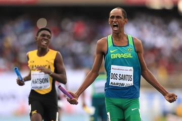 Alison Brendom dos Santos anchors Brazil to gold in the mixed 4x400m at the IAAF World U18 Championships Nairobi 2017 (Getty Images)