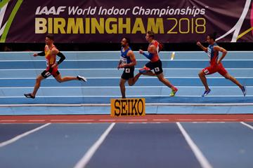 Oscar Husillos of Spain in the 400m heats in Birmingham (AFP/Getty Images)