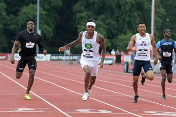 Howard Fields wins the US U20 400m title in Bloomington (Kirby Lee)