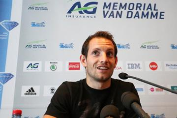 Renaud Lavillenie at the press conference ahead of the IAAF Diamond League meeting in Brussels (Gladys Chai von der Laage)