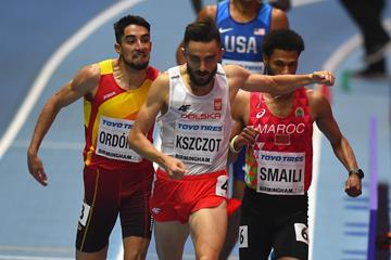 Adam Kszczot winning his 800m heat in Birmingham (Getty Images)