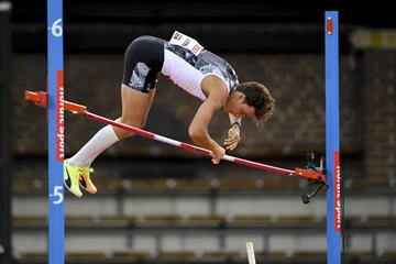 Pole vault winner Mondo Duplantis at the Diamond League meeting in Stockholm (Deca Text & Bild)