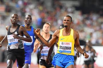 Ayanleh Souleiman wins the 1000m at the 2016 IAAF Diamond League meeting in Lausanne (Gladys von der Laage)