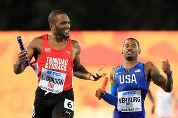 Trinidad and Tobago's Lalonde Gordon in the 4x400m at the IAAF/BTC World Relays Bahamas 2017 (Getty Images)
