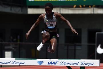 Ruth Jebet at the 2016 IAAF Diamond League meeting in Eugene (Kirby Lee)