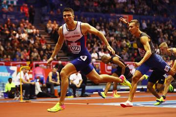 Andrew Pozzi winning the 60m hurdles at the Muller Indoor Grand Prix in Birmingham (Getty Images)
