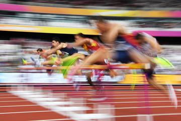 Athletes in action in the 110m hurdles at the IAAF World Championships (AFP / Getty Images)