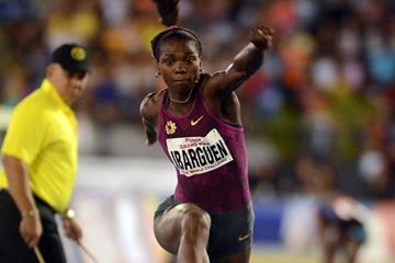 Caterine Ibarguen winning the triple jump at the 2014 Ponce Grand Prix (Rafael Contreras / organisers)