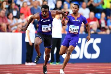 Yohan Blake and Tyquendo Tracey from the victorious Continental Cup 4x100m squad (Getty Images)