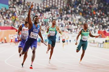 Noah Lyles anchors the USA to the men's 4x100m title at the IAAF World Athletics Championships Doha 2019 (Getty Images)