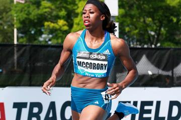 Francena McCorory on her way to winning the 400m at the IAAF Diamond League meeting in New York (Victah Sailer)
