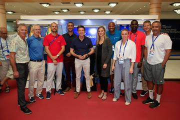 Athletics legends visit the IAAF Heritage World Athletics Championships Exhibition in Doha (Getty Images)
