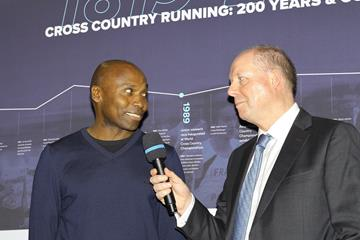 Wilson Kipketer at the opening ceremony of the IAAF Heritage XC Display in Aarhus (LOC)