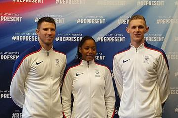 Andrew Pozzi, Shelayna Oskan-Clarke and Lee Thompson ahead of the IAAF World Indoor Championships Birmingham 2018 (British Athletics)