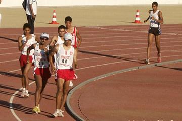 Sbai Hassanine of Tunisia on his way to winning the men's 20km race walk at the Arab Games (Slim Gomri)