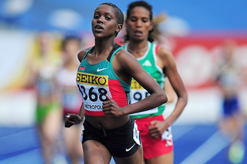 Faith Kipyegon of Kenya in the girls' 1500m at the 2011 IAAF World Youth Championships in Lille (Getty Images)