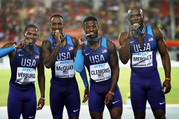 USA men's 4x400m team after taking victory at the IAAF/BTC World Relays Bahamas 2017  (Getty Images)