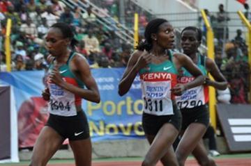 Double trouble: Gladys Cherono (0604) lead a Kenyan 1-2-3 in the 10,000m in Porto-Novo (Yomi Omogbeja/AthleticsAfrica.Com)