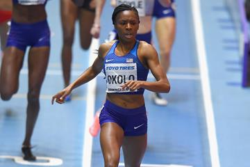 BIRMINGHAM, ENGLAND - MARCH 03:  Courtney Okolo of the United States wins the Women's 800m Final during Day Three of the IAAF World Indoor Championships at Arena Birmingham on March 3, 2018 in Birmingham, England.  (Photo by Tony Marshall/Getty Images) (Getty Images)