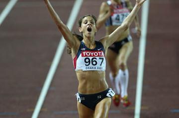 bronze medal celebration for Kara Goucher in the women's 10,000m (Getty Images)