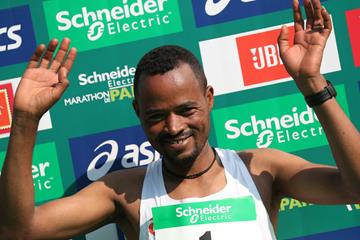 Abrha Milaw after his victory at the Paris Marathon (AFP/Getty Images)