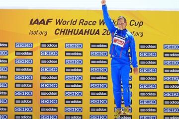 Matej Toth celebrates winning gold on the World Race Walking Cup podium in Chihuahua (Getty Images)