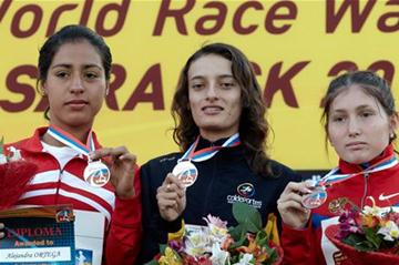 The women's junior podium: Sandra Arenas, Alejandra Ortega and Nadsezhda Leontyeva (Getty Images)