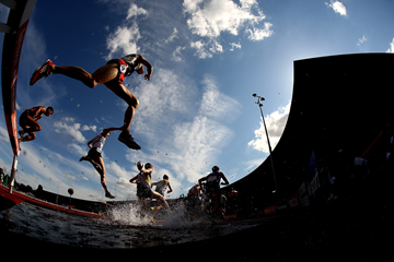 Athletes in action in the steeplechase at the Alexander Stadium in Birmingham (Getty Images)