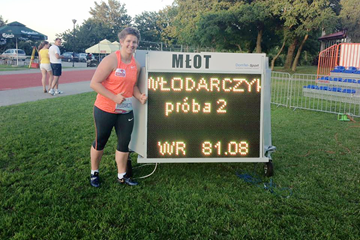 Anita Wlodarczyk with her world record figures in Cetniewo ()