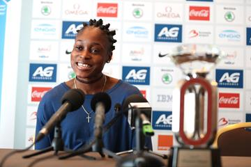 Elaine Thompson at the press conference ahead of the IAAF Diamond League final in Brussels (Giancarlo Colombo)