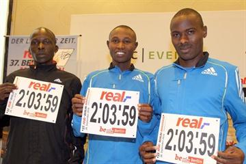 Eliud Kiptanui, Geoffrey Mutai and Patrick Makau at the  real_Berlin Marathon press conference (Victah Sailer)