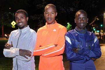 Haile Haja, Julius Keter and Luka Rotich ahead of the 2015 Santiago de Chile Marathon (Oscar Muñoz Badilla)