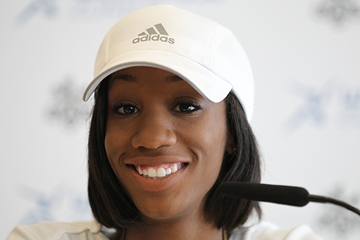 Kendra Harrison at the press conference for the IAAF Diamond League meeting in Zurich (Jean-Pierre Durand)