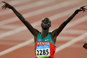 Brimin Kipruto capturing 2008 Olympic gold (Getty Images)