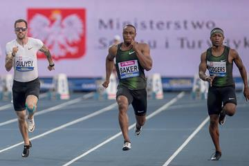 Ronnie Baker en route to his 9.87 win in Chorzow, Poland (Organisers)