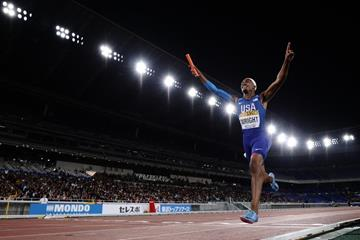 Dontavious Wright of the USA in the mixed 4x400m at the IAAF World Relays Yokohama 2019 (Getty Images)