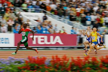 Francis Obikwelu celebrates the first European Championships sprint double in 28 years (Getty Images)