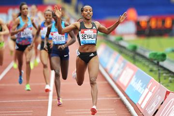 Dawit Seyaum wins the 1500m at the IAAF Diamond League meeting in Birmingham (Mark Shearman)