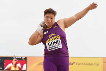 Gong Lijiao in the shot put at the IAAF Continental Cup Marrakech 2014 (Getty Images)