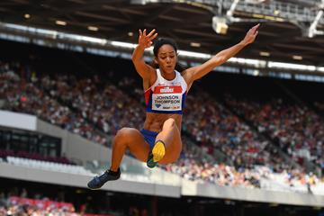 Katarina Johnson-Thompson in the long jump at the IAAF Diamond League meeting in London (Getty Images)