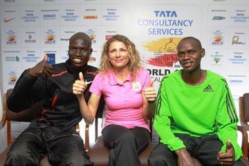 Ambassador Constantina Dita, reigning Olympic marathon champion, along with defending men's champion Titus Mbishei and Nicholas Kamakya, LA marathon runner-up (Organisers)