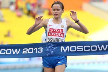 Elena Lashmanova in the women's 20km Race Walk at the IAAF World Championships Moscow 2013 (Getty Images)
