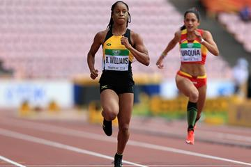Briana Williams of Jamaica in action during the heats of the 100m at the IAAF World U20 Championships Tampere 2018 (Getty Images)