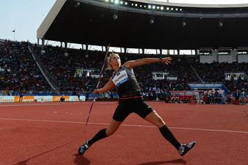 Madara Palameika in the javelin at the IAAF Diamond League meeting in Rabat (Kirby Lee)